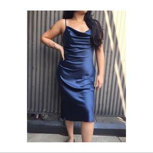 Navy Blue cowl neck midi dress